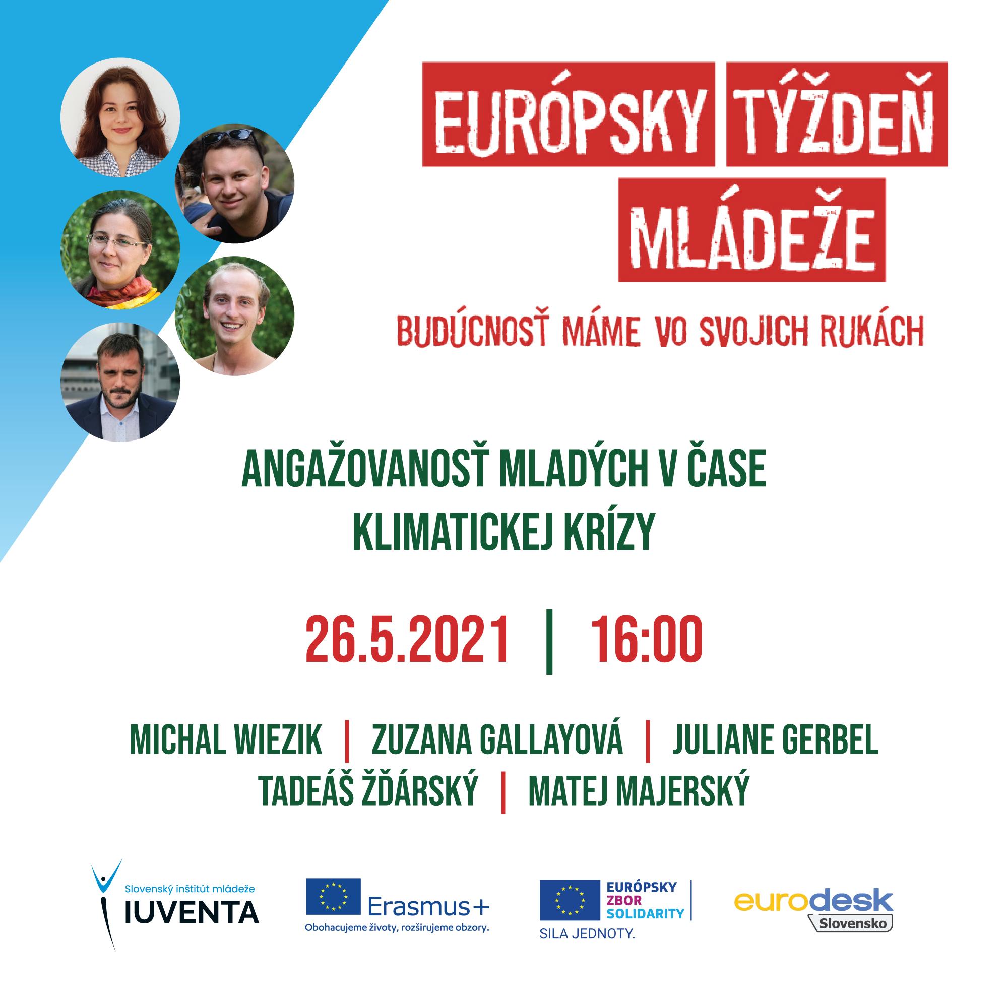 Európsky týždeň mládeže - čo nás čaká v stredu, 26.5.2021