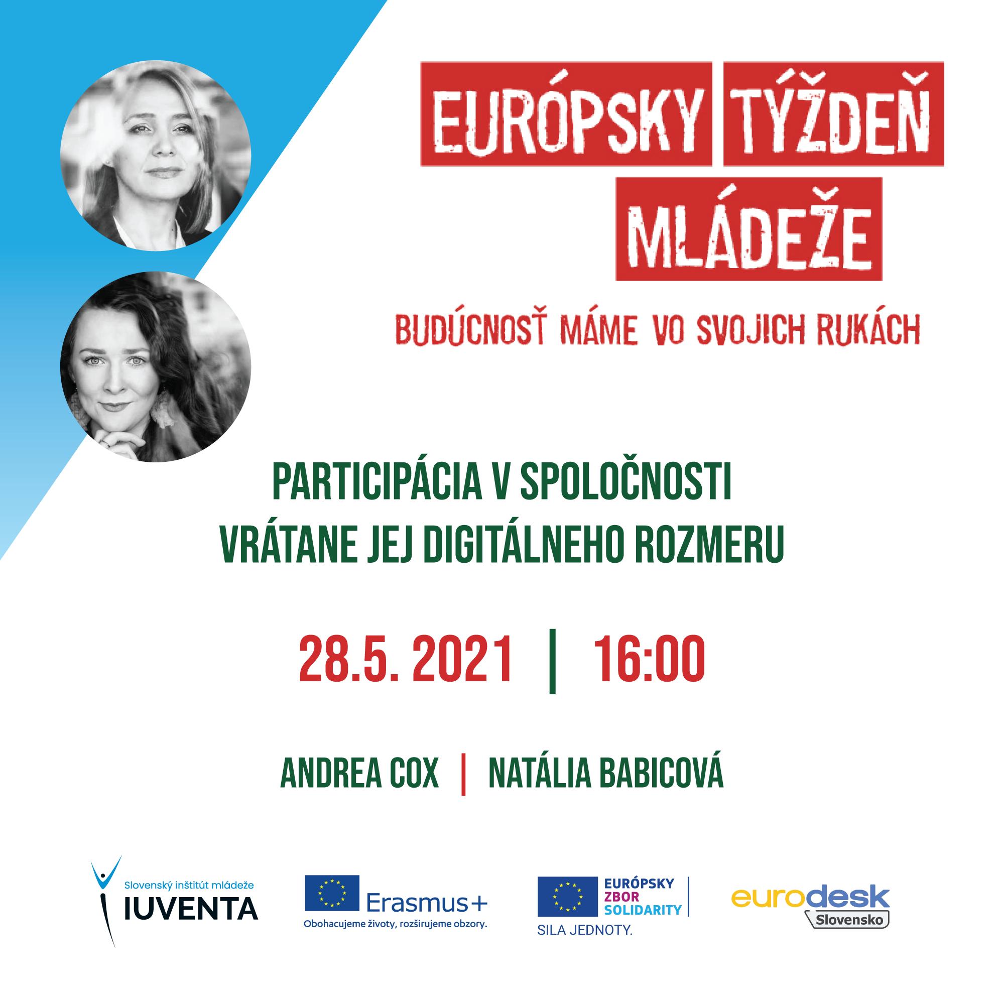 Európsky týždeň mládeže - čo nás čaká v piatok, 28.5.2021