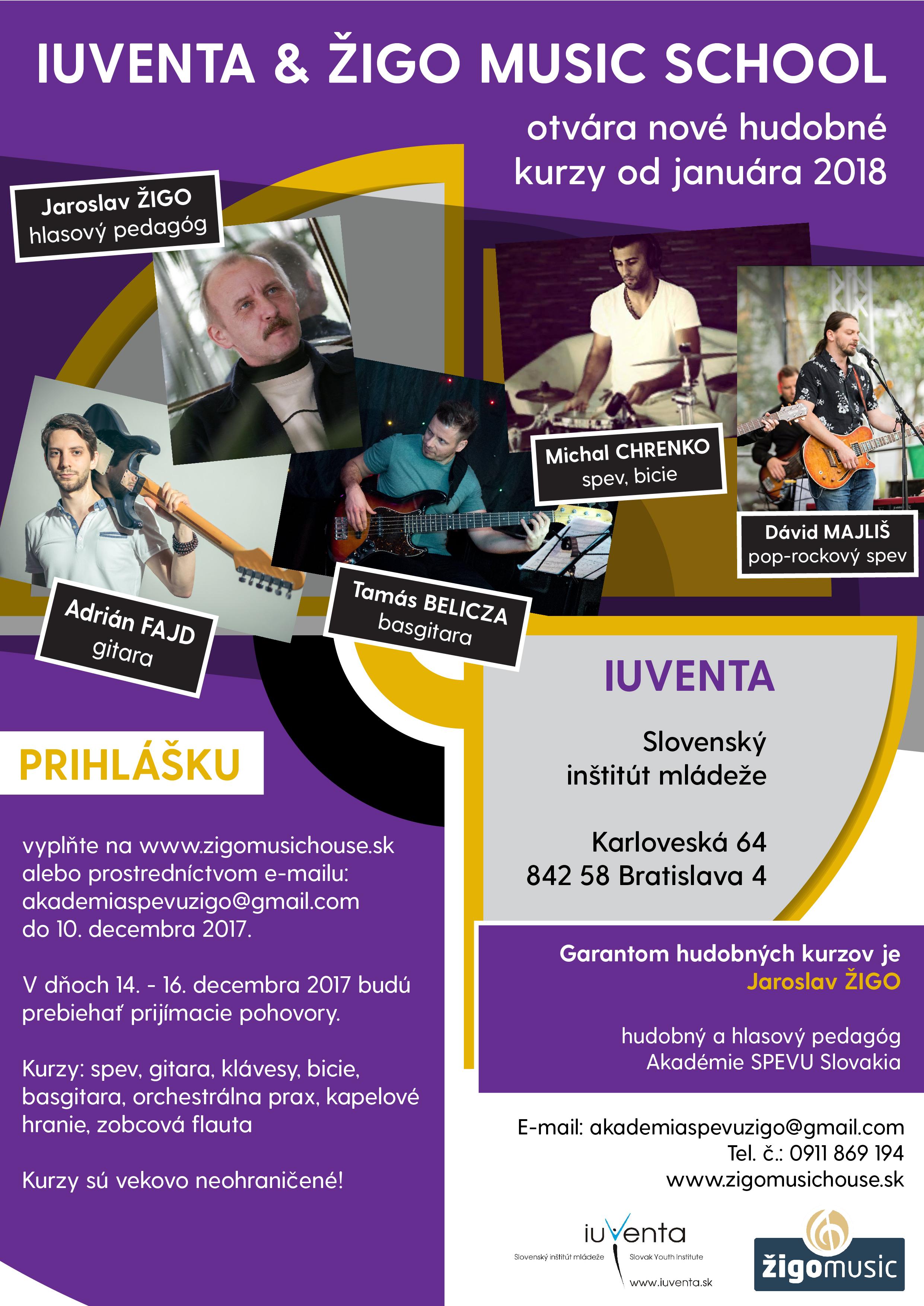 IUVENTA & ŽIGO MUSIC SCHOOL OTVÁRA NOVÉ HUDOBNÉ KURZY OD JANUÁRA 2018!