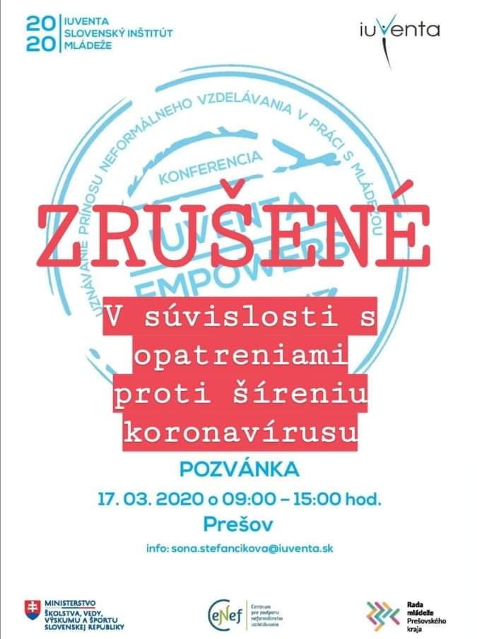 Konferencia IUVENTA EMPOWERs REGIONs - Prešov ZRUŠENÁ